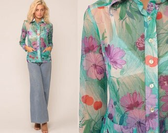Sheer Floral Blouse 70s Boho Top Button Up Shirt Bohemian Long Sleeve 1970s Vintage Hippie Romantic Summer Turquoise Purple Small Medium