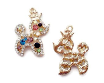 Poodle Charm  Rhinestone Lead and Nickel Free (1)