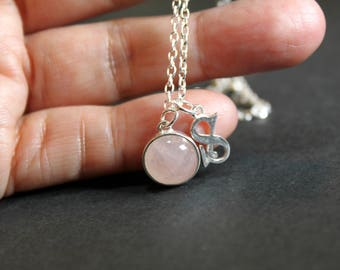 Silver Initials Soft Pink Rose Quartz Gems Silver Pendant Necklace, Personalized Jewelry, Birthday Gift, Bridesmaid Gift