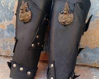 Primitive Oiled Black Leather Peaked Bracer Pair with Vintage Metal Thai Dragons