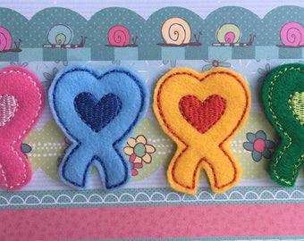 Awareness Ribbon Feltie - Blue Ribbon - Yellow Ribbon - Pink Ribbon - Green Ribbon - Set of Four Ribbons