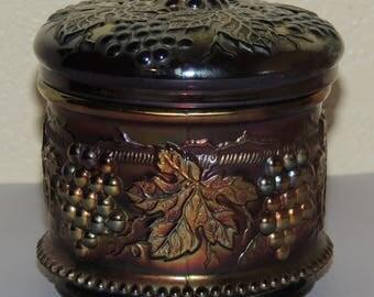 Northwood Purple Carnival Glass Trinket/Powder Jar