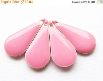 20% OFF Metal & Epoxy Teardrops - Silver Plated Bubble Gum Pink (4 drops) - spa298