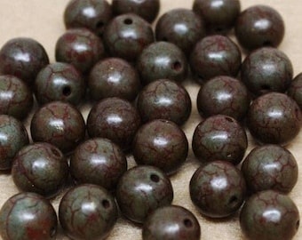 20% OFF LOOSE Gemstone Beads - Reconstituted Howlite - 10mm Rounds - Brown, Rust, Olive (6 beads) - gem1095