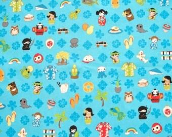 Tomodachi Blue by P & B Textiles Cotton Fabric - 1 yard