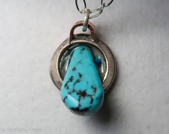 Turquoise finding set in hand hammered 1967 US quarter pendant featuring Oklahoma red dirt & turquoise shards