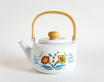Vintage Berggren Enamelware Tea Kettle NEVER Used Blond Wood Handle, A Watched Pot Never Boils, Scandinvian Swedish Folk Kitchen Decor