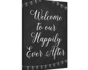 Happy Ever After Wedding Sign Canvas Gallery Wraps