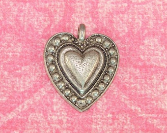 6 Heart Charms Pewter Silver USA Made (31413) Love Jewelry Supplies Bulk Charms Valentine's Day Wedding Bridal Wine Charm Housewarming Gift