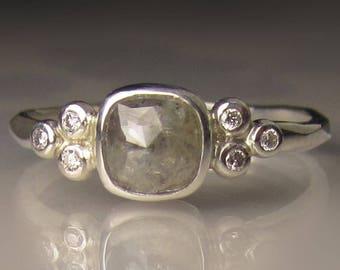 Rose Cut Diamond Engagement Ring, Sterling Silver Diamond Cluster Engagement Ring. Rose Cut Diamond Wedding Set