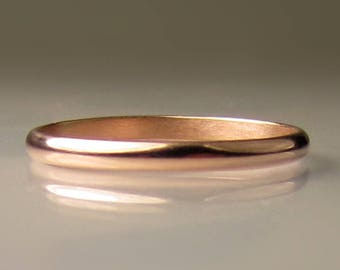 Women's Gold Wedding Band, 2mm recycled 14k Rose Gold Ring, Eco Friendly Band