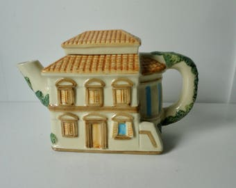 1983 House of KATAYAMA Ceramic Mediterranean Cottage Shaped Ceramic Teapot. Free Sh.