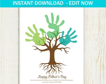 PERSONALIZE Father's Day Handprint Art - art project - Digital