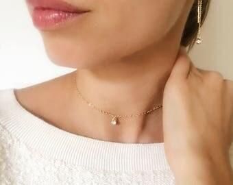 Dainty Gold and Diamond Look Solitaire Choker ( Cubic Zirconia ) minimalist.