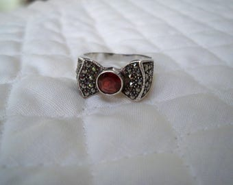 Vintage Jewelry Ring Women's Sterling Marcasite Bow Ring Size 8