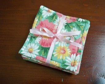Vintage Home Drinkware Cloth Floral Coasters Set of Six Coasters