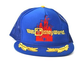 Vintage Mesh Baseball Cap Walt Disney World Snapback 80s Trucker Hat State Florida Fl Gold Royal Blue