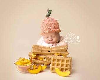 Peach Hat, Knit Cotton Baby Hat great photo prop