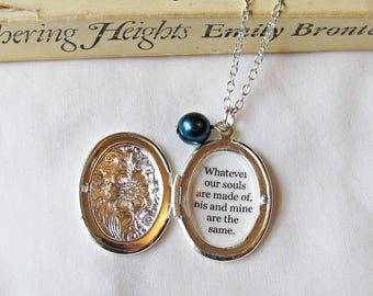 Wuthering Heights Quote Locket. Necklace Bridal Whatever Our Silver Charm Customized. Jewelry Jewellery Two Cheeky Monkeys Typography Bronte