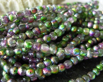 3mm Round, Etched Beads, Czech Glass Beads- Magic Orchid (50)