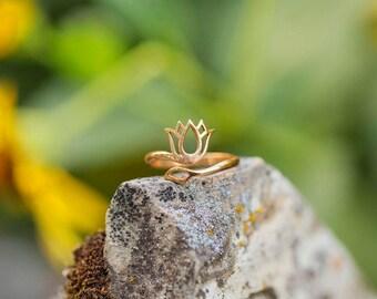 Gold Lotus Ring/ Inspirational Jewelry/ Yoga Jewelry/ New  Beginnings/ Lotus Jewelry/ Lotus Flower Jewelry