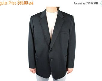 ON SALE Mens Vintage Blazer 50R Solid Black Polyester Sports Coat Suit Jacket Blair 80s Free Us Shipping