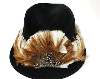 """ON SALE Vintage Tall Pheasant Feather Hat Band White Brown Cowboy Western Stetson 28"""" Free US Shipping"""