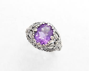 Balinese Sterling Silver Amethyst gemstone Ring / silver 925 / request your size / Bali Handmade Jewelry / (#36r)