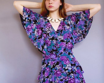 Barbara Dress/ 80s Vintage/ Purple Floral Dress/ Size 6