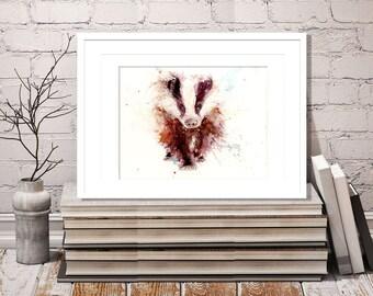 LIMITED edition print of  original wildlife animal art  watercolour. Home office nursery decor art BADGER ref:2498.  hand signed
