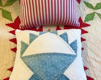Four Primitive Hand Made Americana Vintage Antique mid 1900's Calico Indigo Blue Basket Quilt Pillows