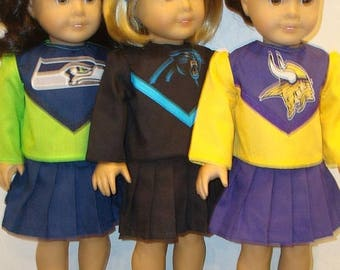 "ON SALE 18"" Doll Clothes, Fits 18"" American Girl Doll,Panthers or Seahawks or Vikings, Cheerleader outfit,READY To Ship,am girl, ag doll, do"