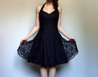 80s Sweetheart Dress Black Lace Party Dress Women Open Back Halter Full Skirt - Medium to Large M L