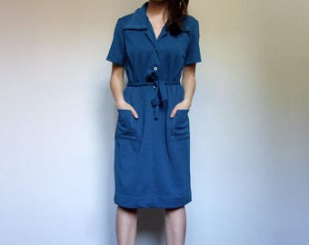 Teal Blue Dress Pockets Womens Vintage Clothing Short Sleeve Day Dress - Large to Extra Large L XL