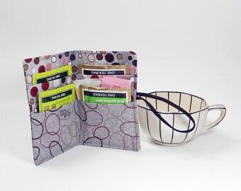 Gray tea wallet - Travel tea bag case - wallet for teabags - 4 pockets - tea caddie
