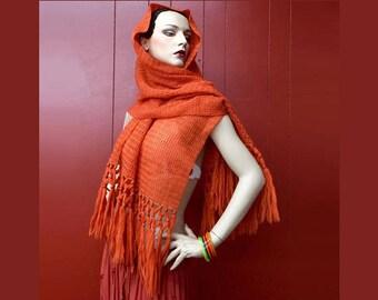 70s Hippie Boho Shawl Scarf Burnt Orange Knit Crochet FRINGE Gypsy