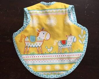 Bib, bapron, toddler bib, bibs, tie bib, southwestern fabric, horse bib, terry bib, tie bib, waterproof bib, boy bib, girl bib, baby gift