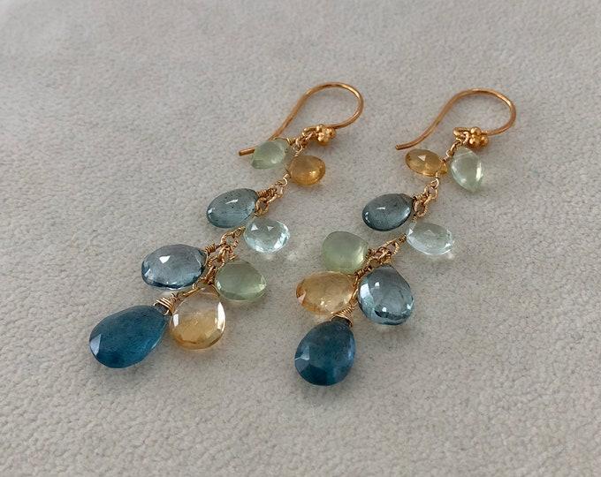 Autumn Inspired Green Semiprecious Gemstone Long Earrings in Gold Vermeil with Moss Aquamarine, Citrine, Fluorite, Prehnite, Mystic Quartz