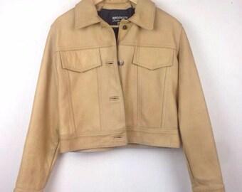 Vintage 90s Leather Camel Thick Jacket Grunge Avant Garde Minimalist Minimal