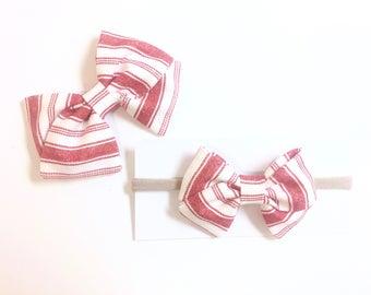 Red & White stripe bow - clip or nylon