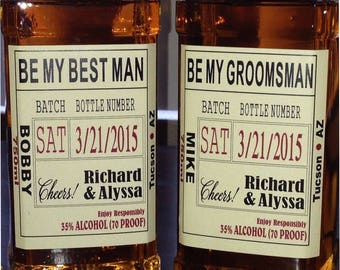 Be My Best Man - Custom Wedding Party and Groomsman Liquor Labels Bourbon Whiskey Best Man - 1 label