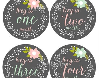 FREE GIFT / PERSONALIZED /  Baby Girl Monthly Stickers, Baby Month Stickers, Milestone Bodysuit Floral Wreath, Photo Prop Pink Mint