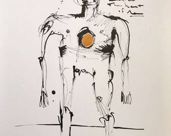 MMXVII:  The Heart of Man ~ Original Ink Drawing with Gold Acrylic Embellishment on A3 Paper