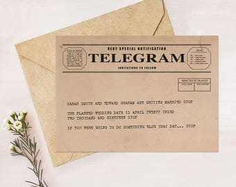 telegram save the date or engagement announcement - printable file - vintage postcard, rustic, retro, unique, 1920s 1930s 1940s style kraft