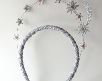 Silver and Gold Shooting Star Headdress, Headband, Tiara, Party Hat