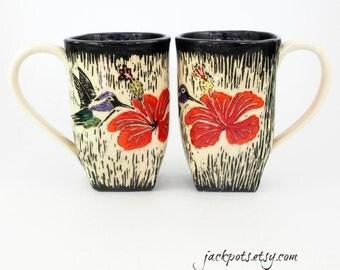 Handbuilt Ceramic Coffee Mug - Handmade Pottery Mug - Sgraffito Mug - Carved by Hand -  Coffee Mug - Tea Cup - Hibiscus - Hummingbird
