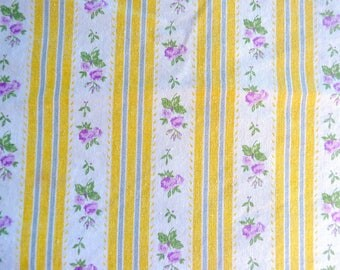 Vintage Ticking Pillow Cover - Yellow Stripe Lavender Roses - Standard Size