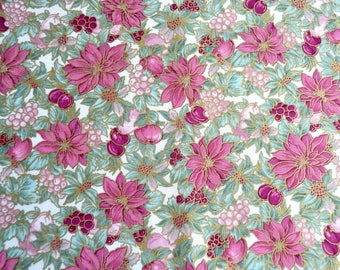 Vintage Christmas Fabric - Vermont Lodge Pink Poinsettia - 29 x 42 Hoffman