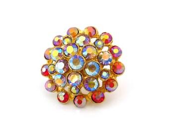 Vintage Aurora Borealis Rhinestone Dome Brooch | Small Red Circle Pin | Vintage 1960s Jewelry