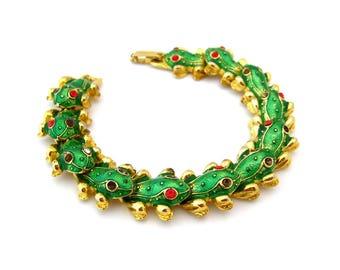 Vintage Frog Enamel Rhinestone Bracelet for Repair, Unsigned Green Red Figural, Costume Jewelry Destash